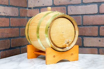 Picture of Oak Barrel -1.32 gallons  (5 liter)  Brass Hoop