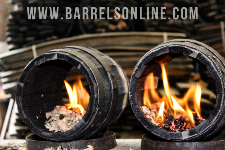 Barrel charring at our cooperage